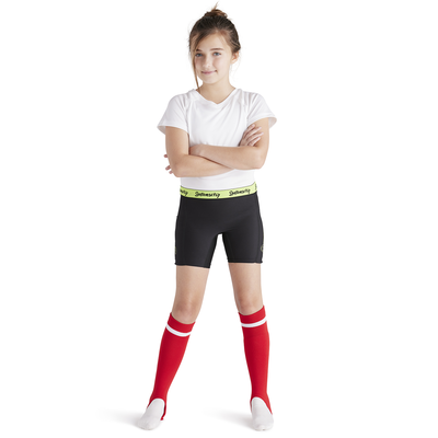 girl wearing white tee shirt and soffe intensity baseball slider shorts