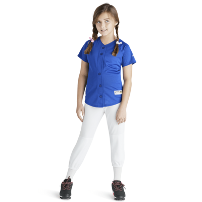 girl wearing soffe intensity pindot baseball jersey in blue