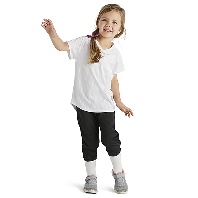 girls wearing soffe intensity pin dot vee neck baseball jersey in white