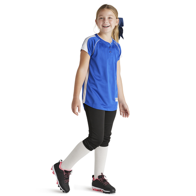Girl wearing Soffe Intensity Brushback baseball Jersey in royal blue