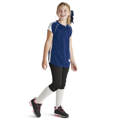 Girl wearing Soffe Intensity Brushback baseball Jersey in navy blue