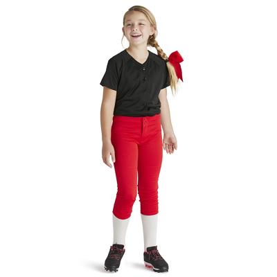 Girls wearing Soffe Intensity Baseline baseball Pants in red
