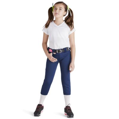 Girl wearing Soffe Intensity baseball Pants in navy blue