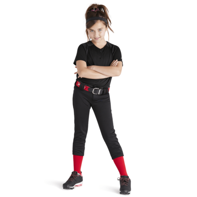 girl wearing black tee shirt and black low rise baseball pant from soffe intensity
