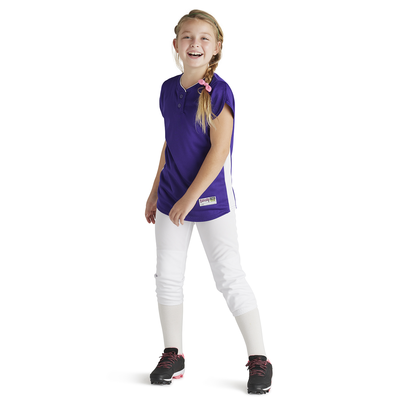 girl wearing Soffe Intensity Designated Hitter baseball Jersey purple color