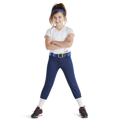 girl wearing soffe intensity low rise baseball pants navy blue color