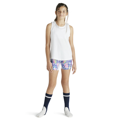 Girl wearing Soffe Intensity Low Rise Slider shorts in a colorful printed pattern