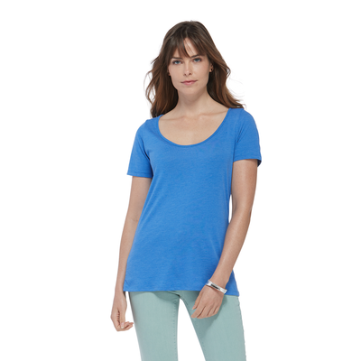 woman facing front wearing a blue scoop neck short sleeve platinum shirt