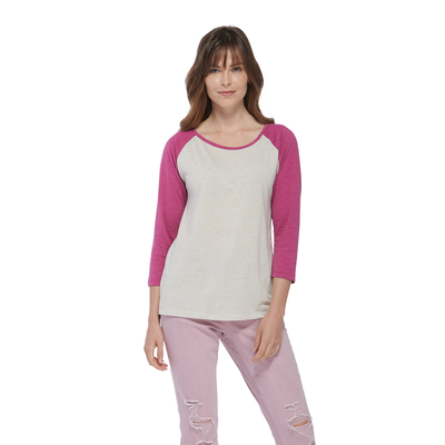 woman facing front wearing an oatmeal and berry raglan sleeve platinum shirt