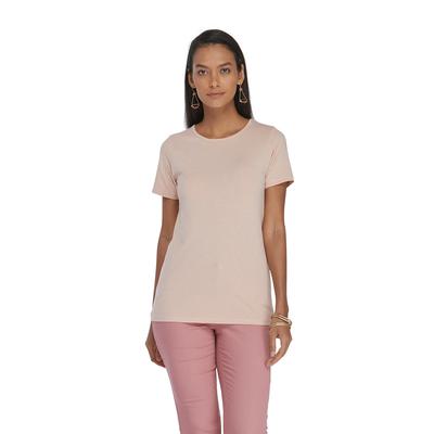 woman wearing a light pink crew neck short sleeve platinum shirt