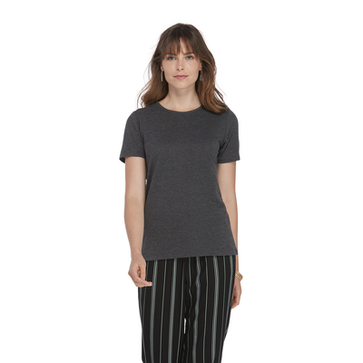 woman walking forward waring a charcoal grey crew neck short sleeve platinum shirt