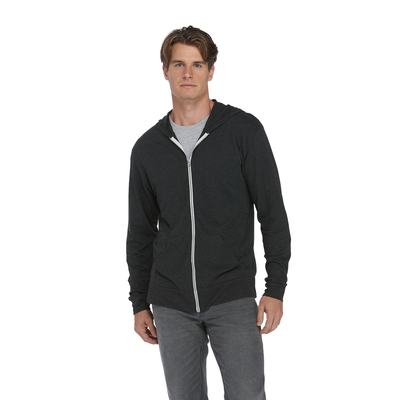 Man wearing a black zip up platinum hoodie