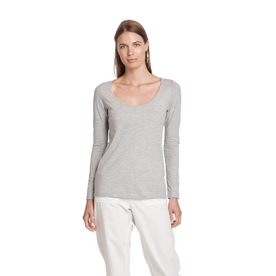 Delta Platinum Ladies CVC Long Sleeve Scoop Neck Tee