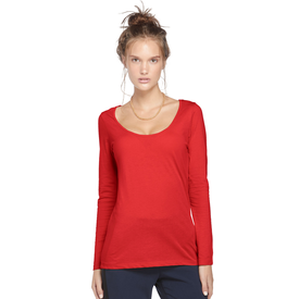 Ladies CVC Long Sleeve Scoop Neck Tee