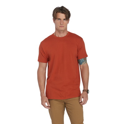 man facing front wearing a burnt red short sleeve crew neck platinum shirt