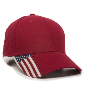 Outdoor Cap Twill Hat with Flag Visor